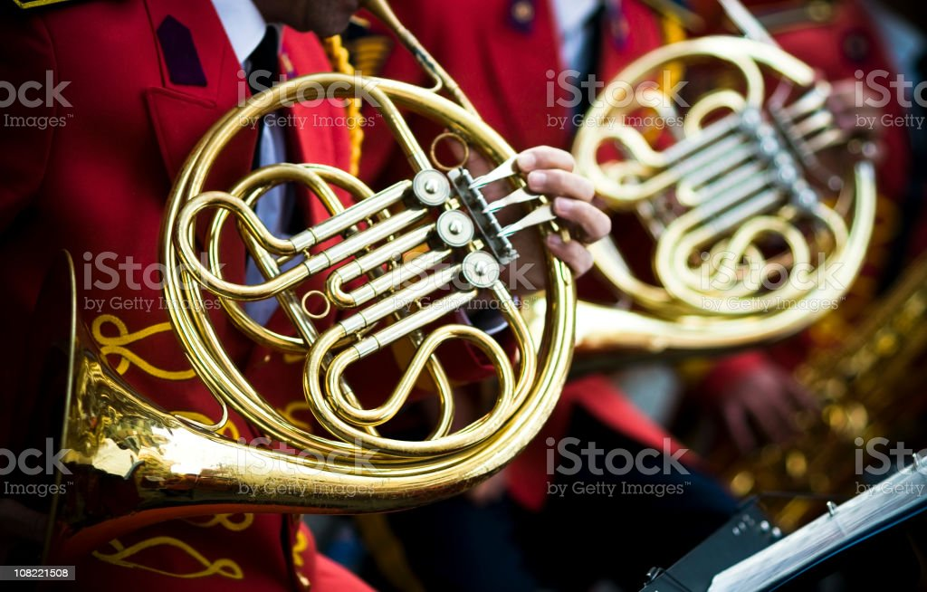 French Horns and red... stock photo