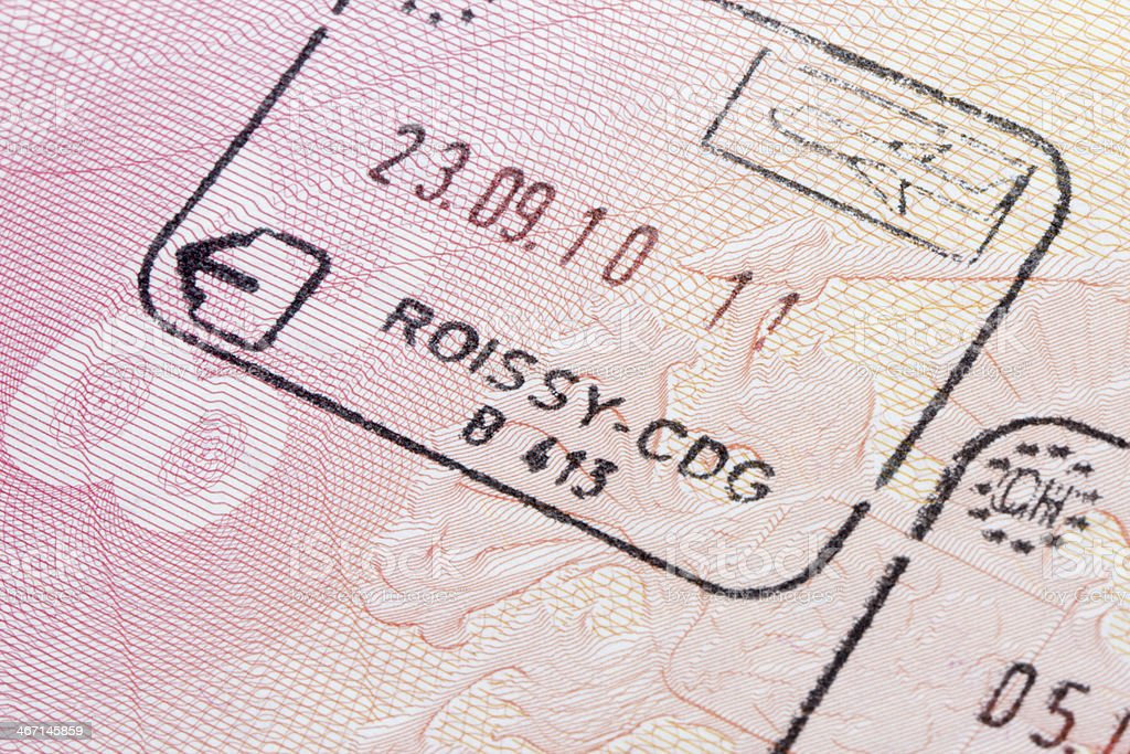 French immigration stamp stock photo