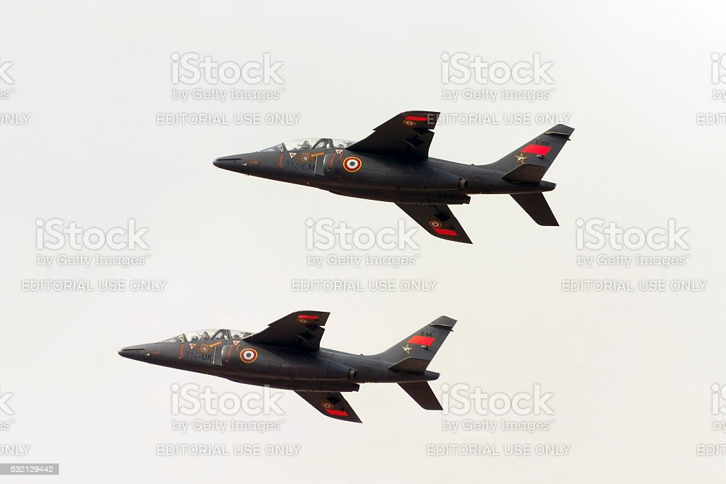 French Jet trainers on take off stock photo
