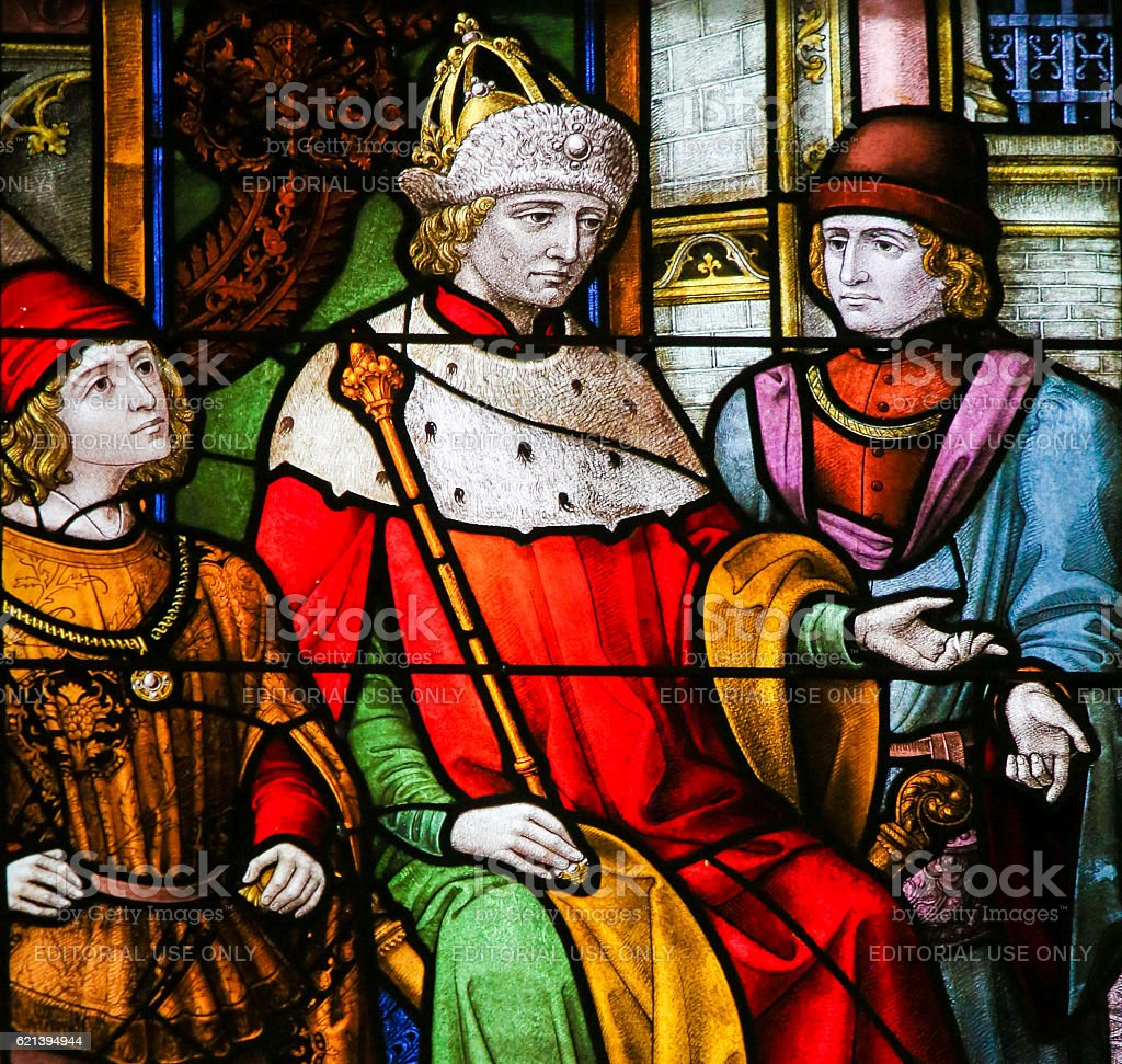 French King on a Throne - Stained Glass stock photo