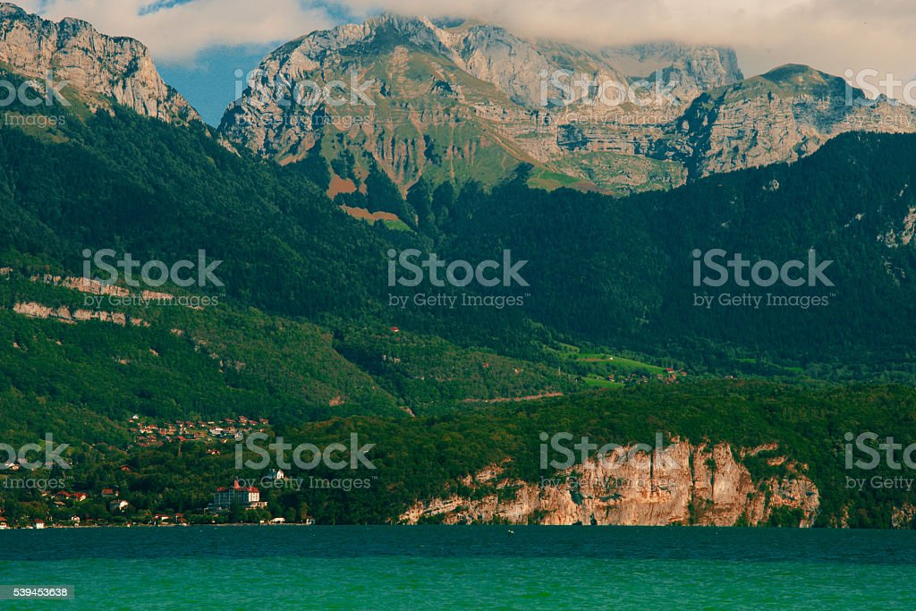 French lake Annecy in Alps, France stock photo