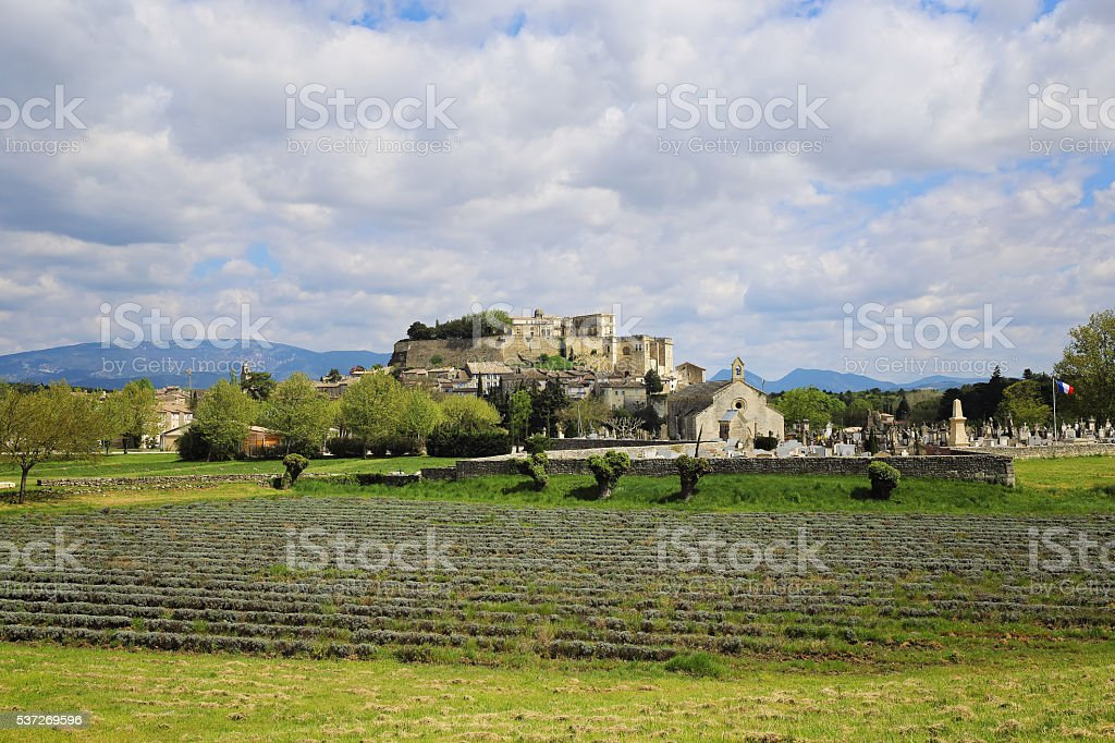 French landscape: the medieval village Grignan stock photo