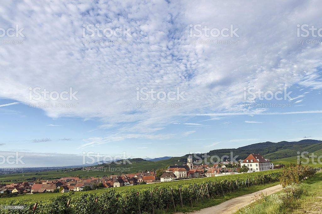 French Landscape: The village Saint Hippolyte among vineyards in stock photo
