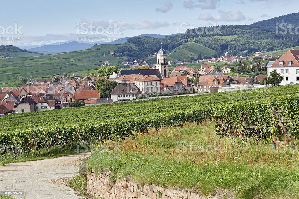 French Landscape: Village in Alsace stock photo