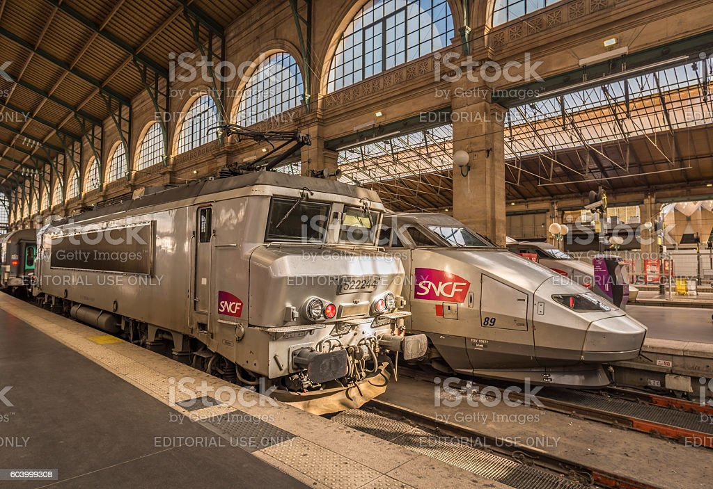 French locomotives parked in main Paris train station stock photo