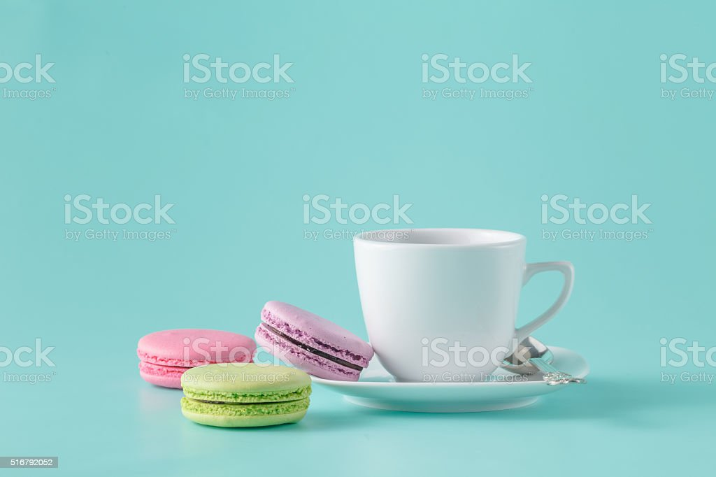 French macarons and coffee cup stock photo