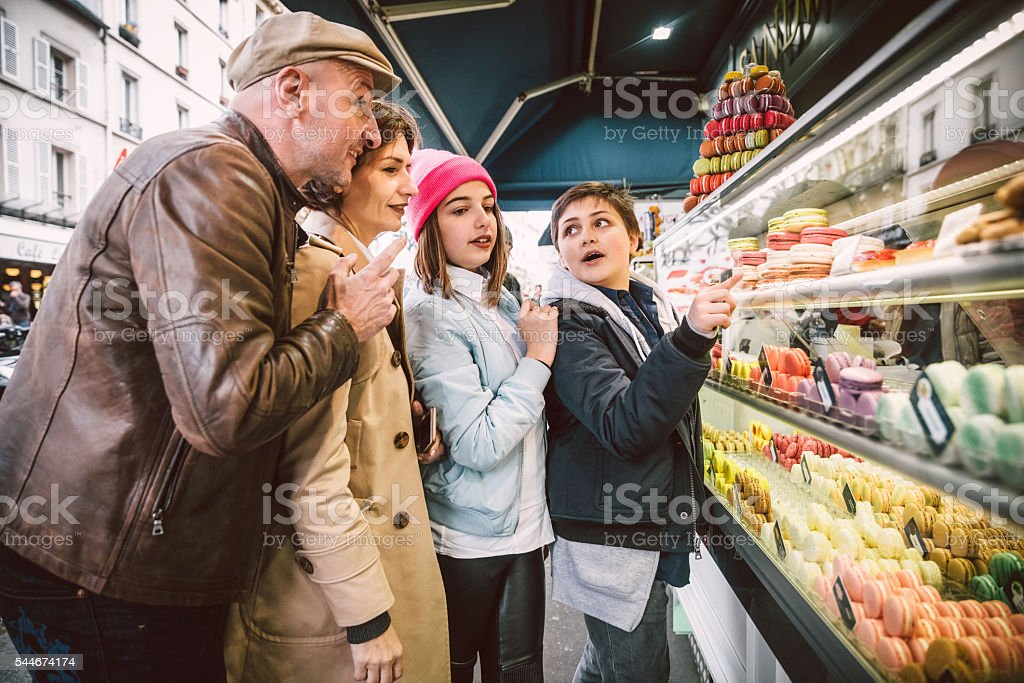 French Macarons shopping in Paris, France stock photo