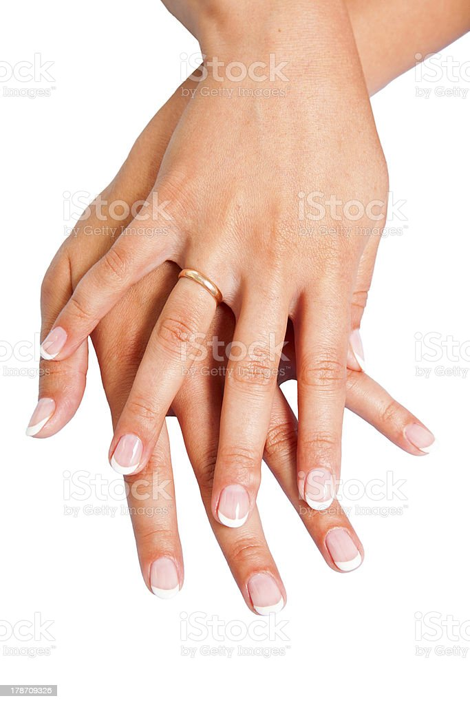 French manicure on hands royalty-free stock photo