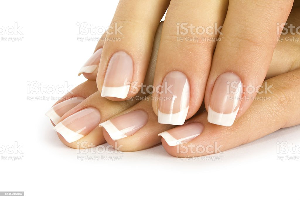 A French manicured woman's nails royalty-free stock photo
