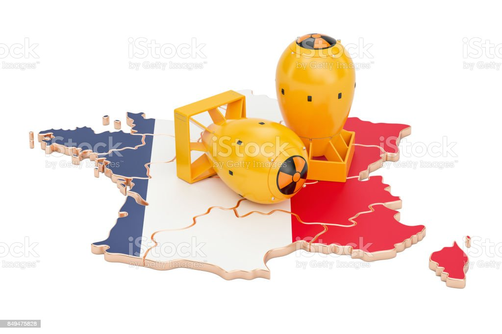 French map with nuclear weapon concept, 3D rendering stock photo