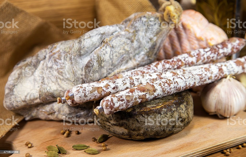 French meat assorted on wood royalty-free stock photo