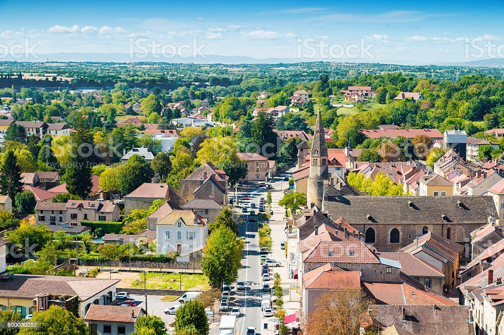 French medieval town of Cremieu in Isere with Augustinian Convent stock photo