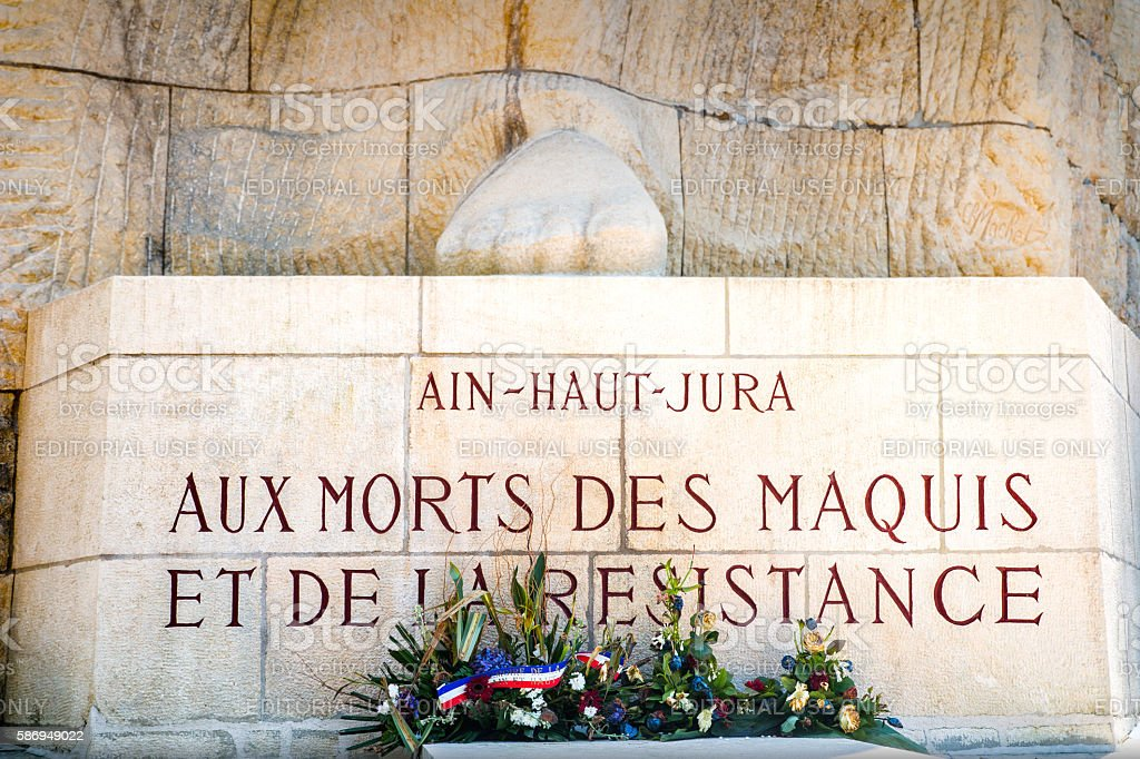 French memorial of maquis of Ain department and of resistance stock photo