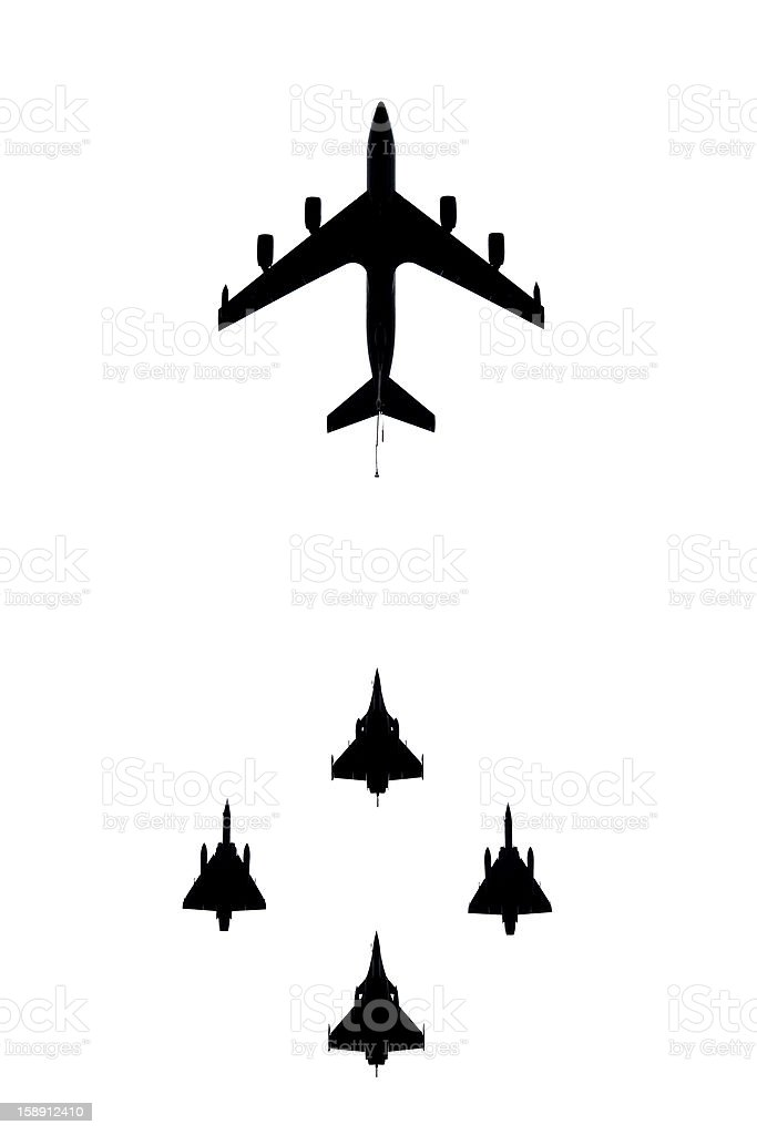 French military planes in flight stock photo