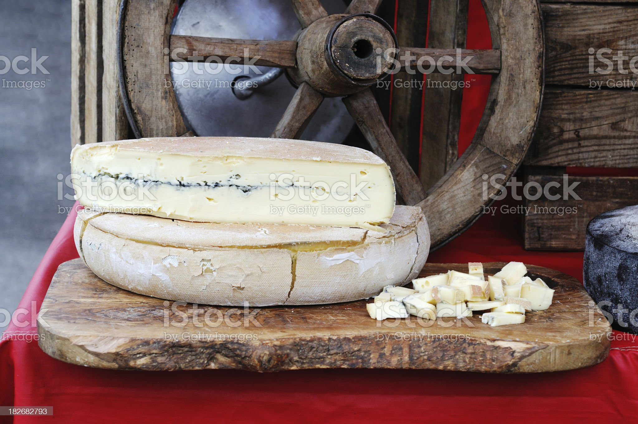French Morbier cheese on market stall royalty-free stock photo