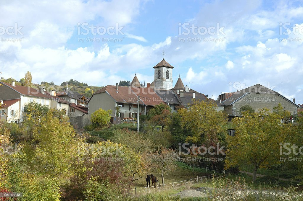 French Mountain Village stock photo