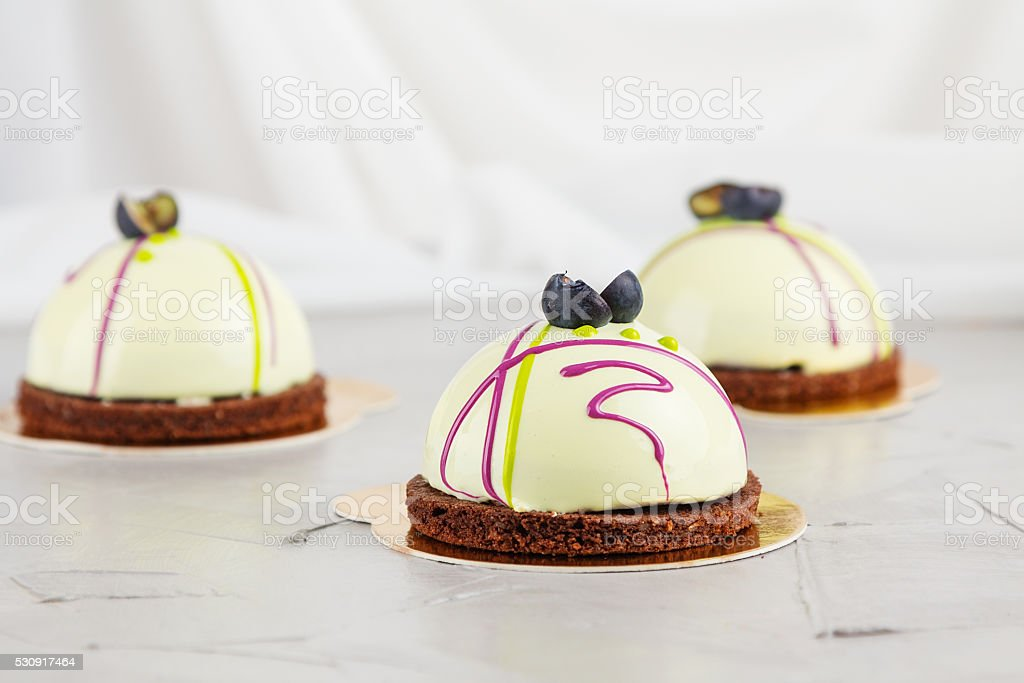 French mousse pastries stock photo