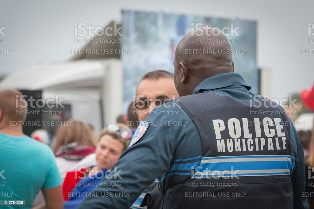 French municipal police monitoring the public stock photo