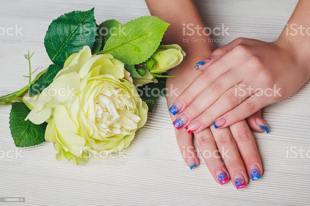 French Nail Art On Wooden Background Stock Photo 498886814 Istock