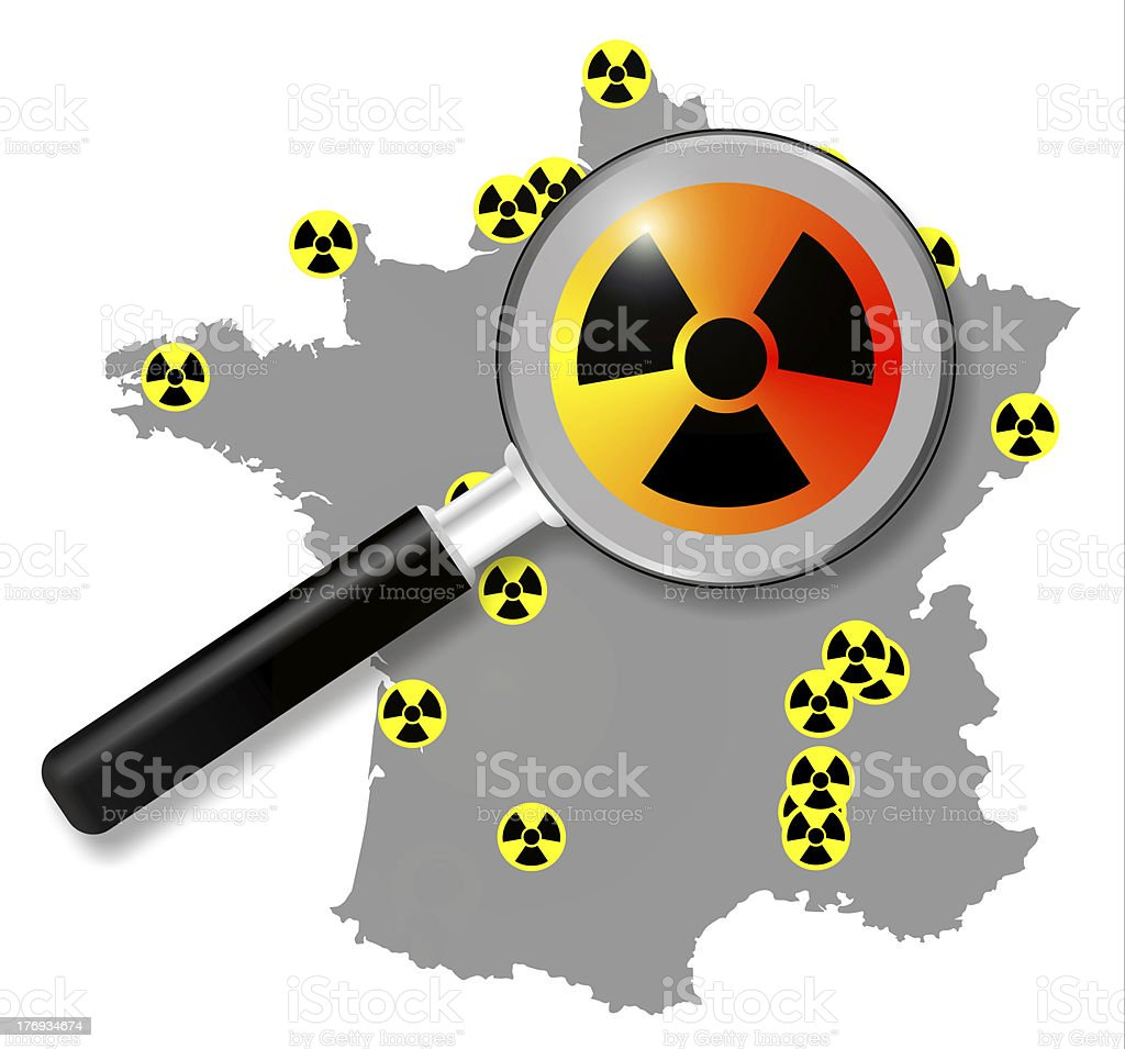 french nuclear energy, map with magnifying stock photo