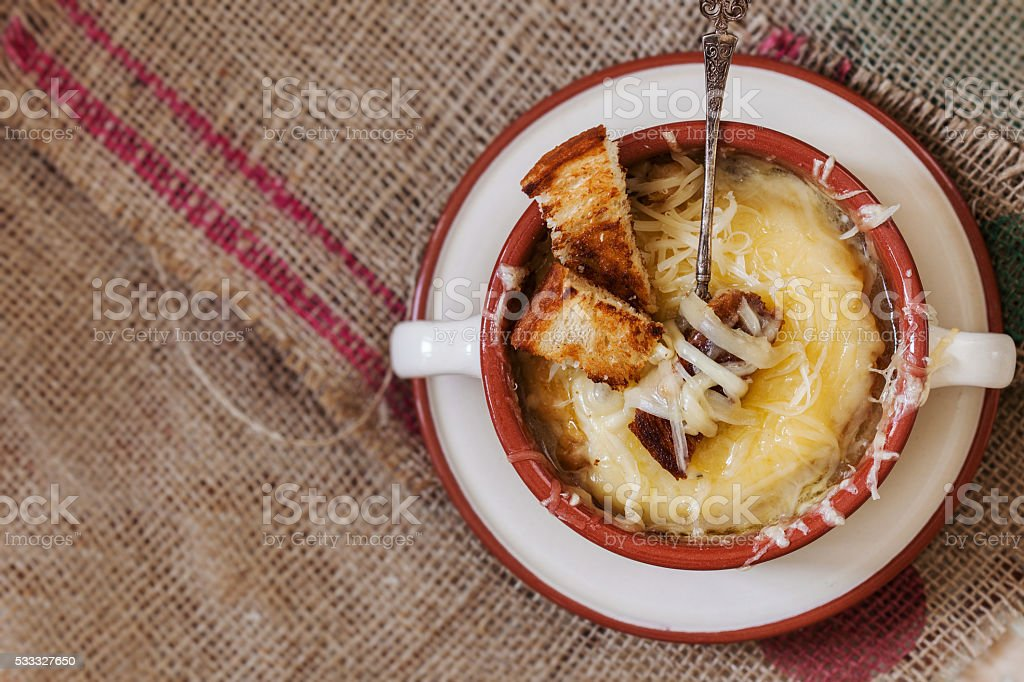 French onion gratin soup stock photo