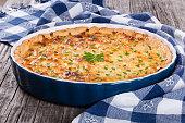 French onion quiche  or pie in a gratin dish
