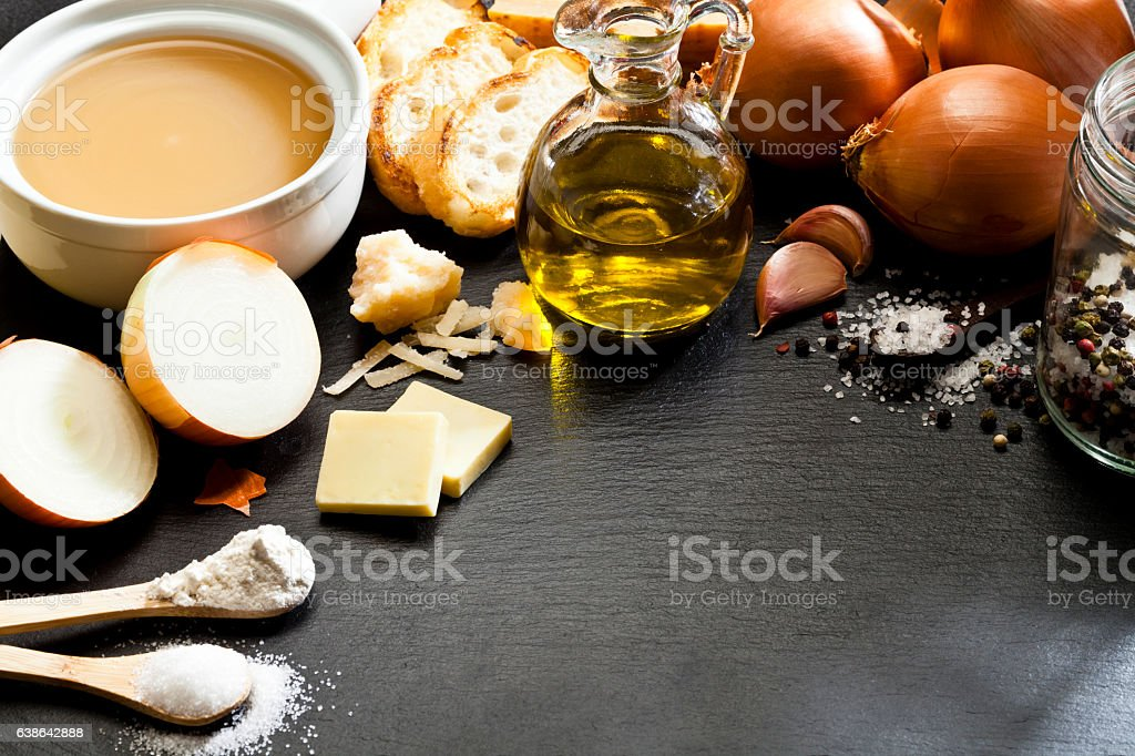 French onion soup ingredients border with copy space stock photo
