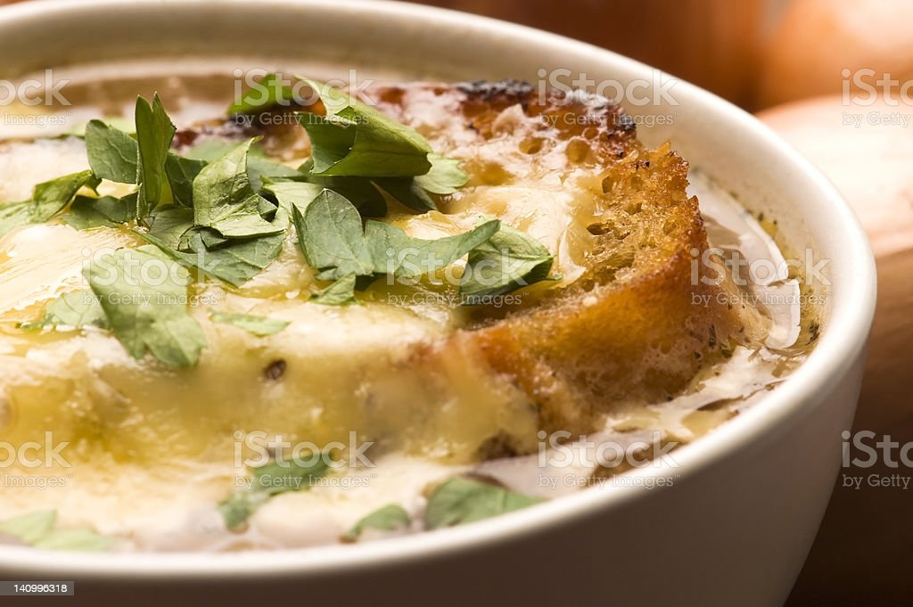 French onion soup with ingredients stock photo