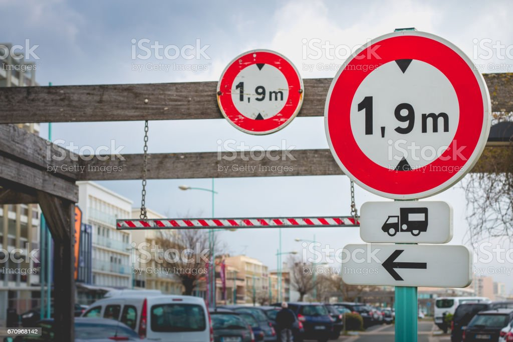 French panels indicating the height limited stock photo