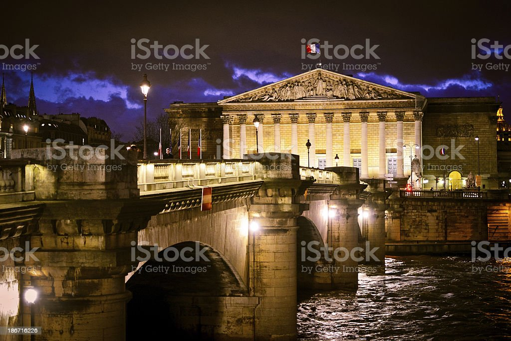 French Parliament illuminated at night royalty-free stock photo