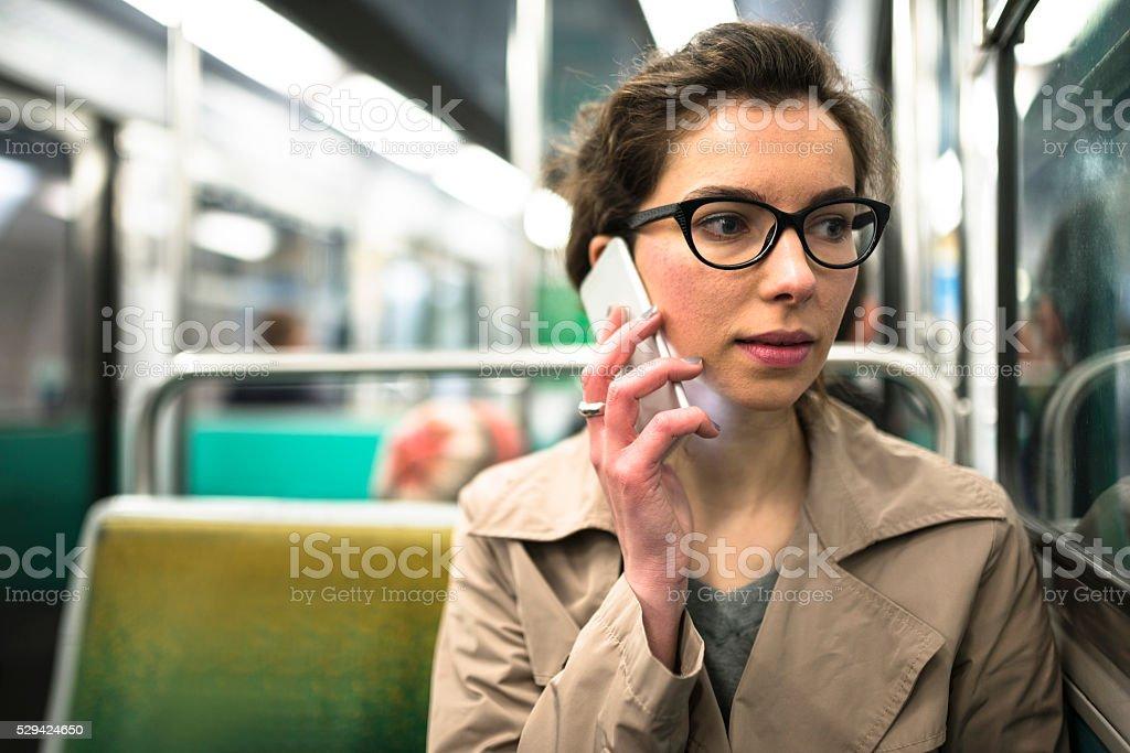 french passenger inside the paris metro train stock photo