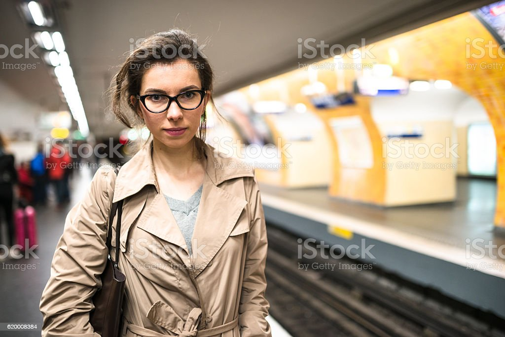 french passenger inside the paris metro waiting the train stock photo