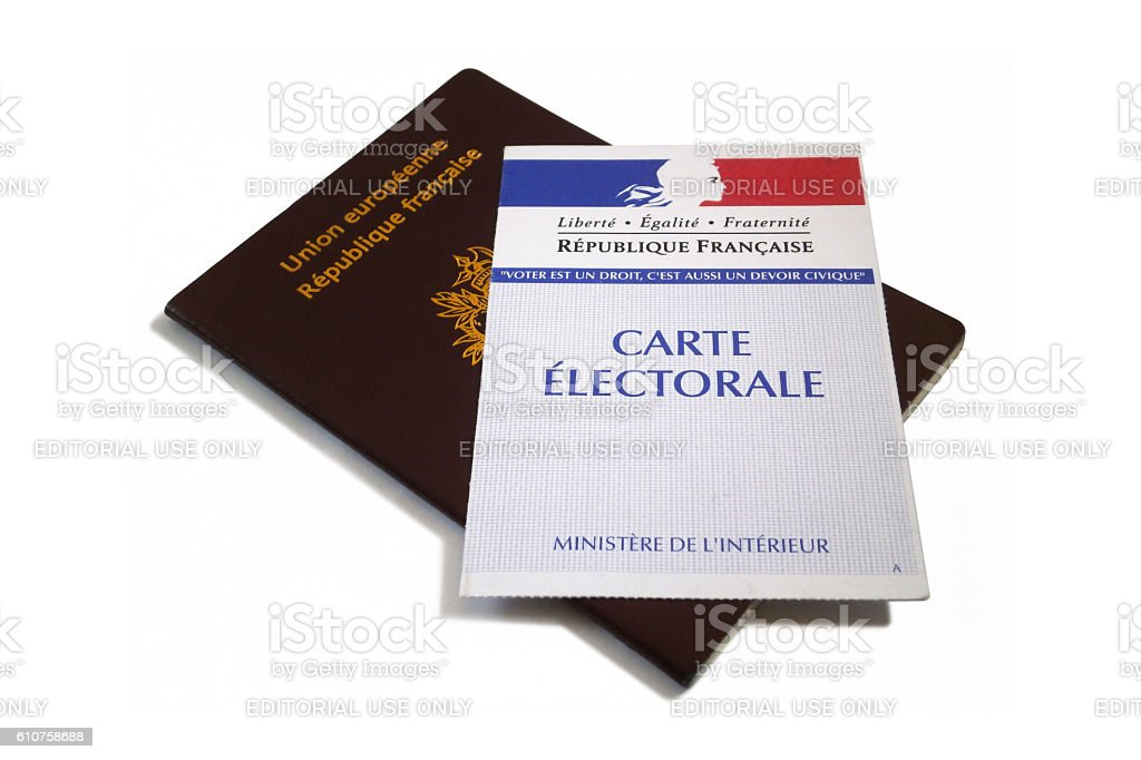 French passport and electoral voting card stock photo
