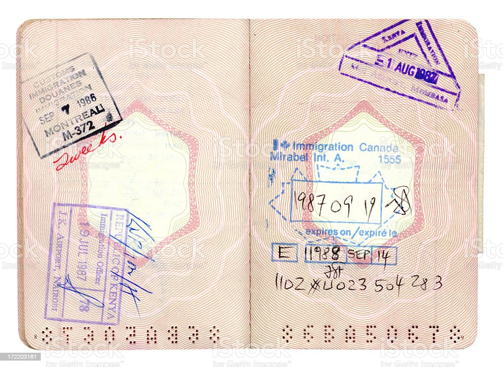 French Passport with stamps stock photo