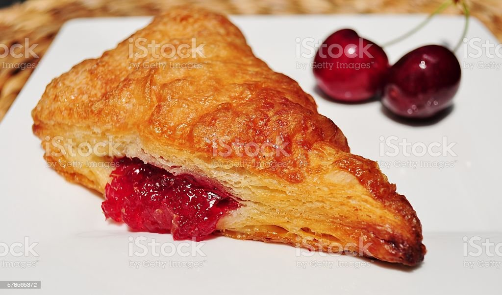 French pastry. Cherry turnover. stock photo