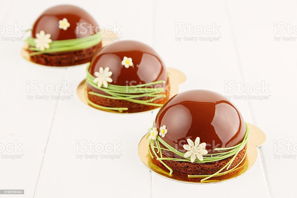 French pastry with chocolate glaze stock photo