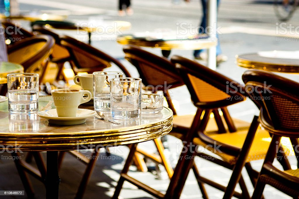 French pavement cafe stock photo