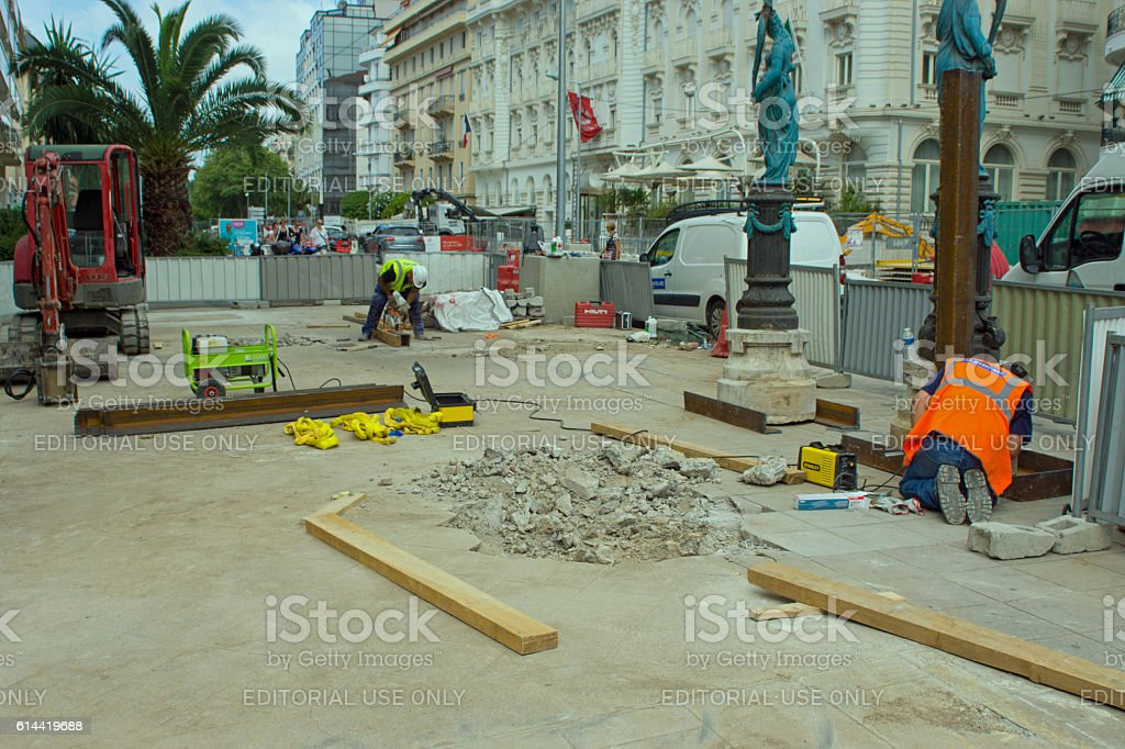 French pavement construction stock photo