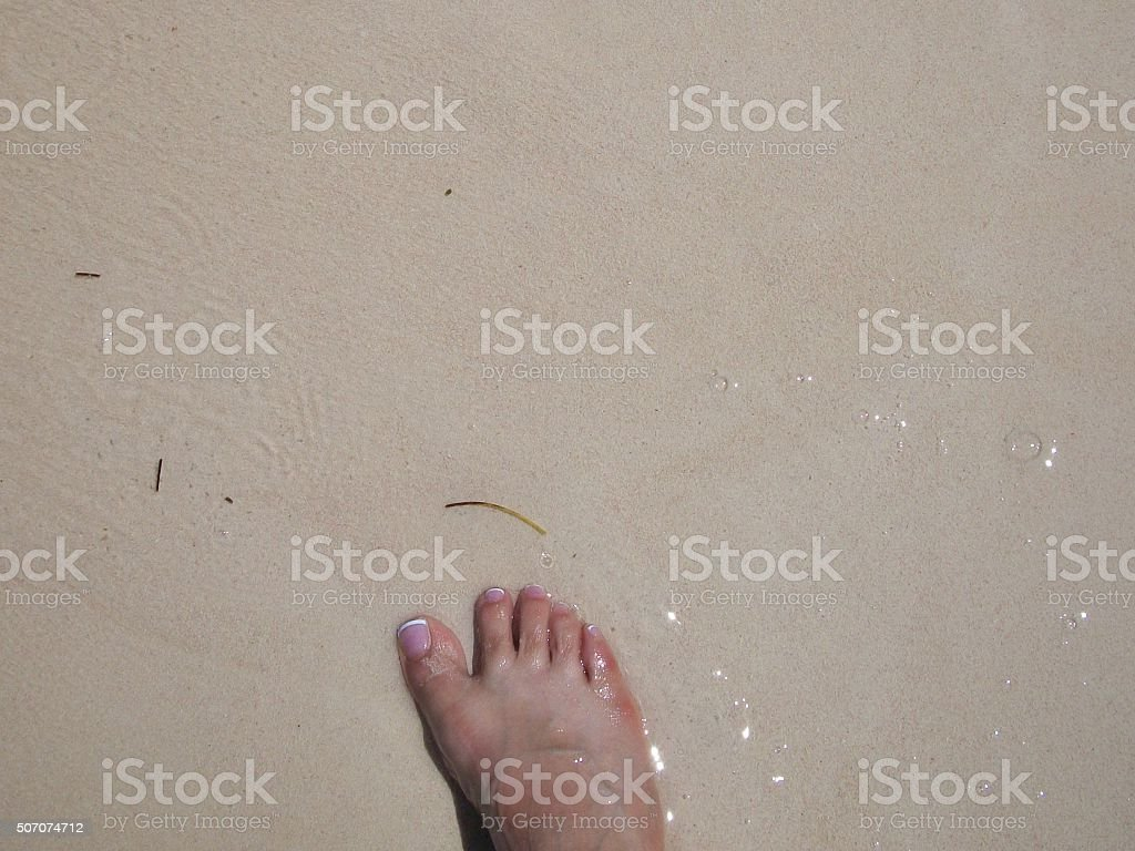 French pedicure foot on beach stock photo