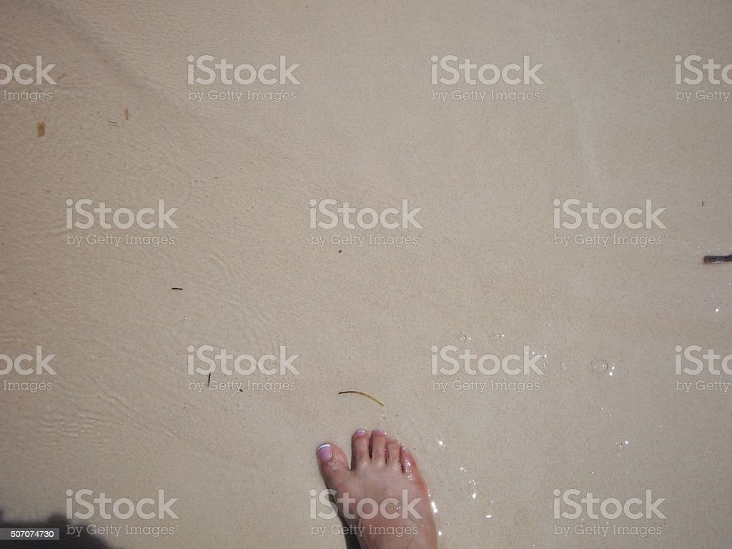 French Pedicure on beach stock photo