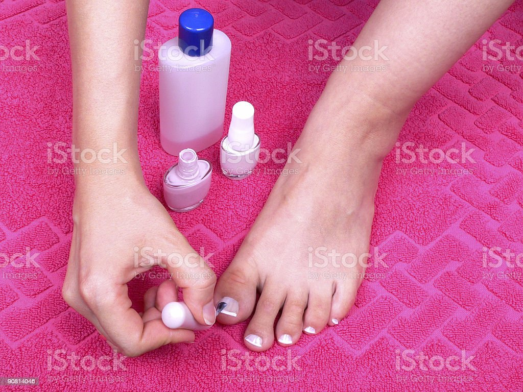 French pedicure royalty-free stock photo