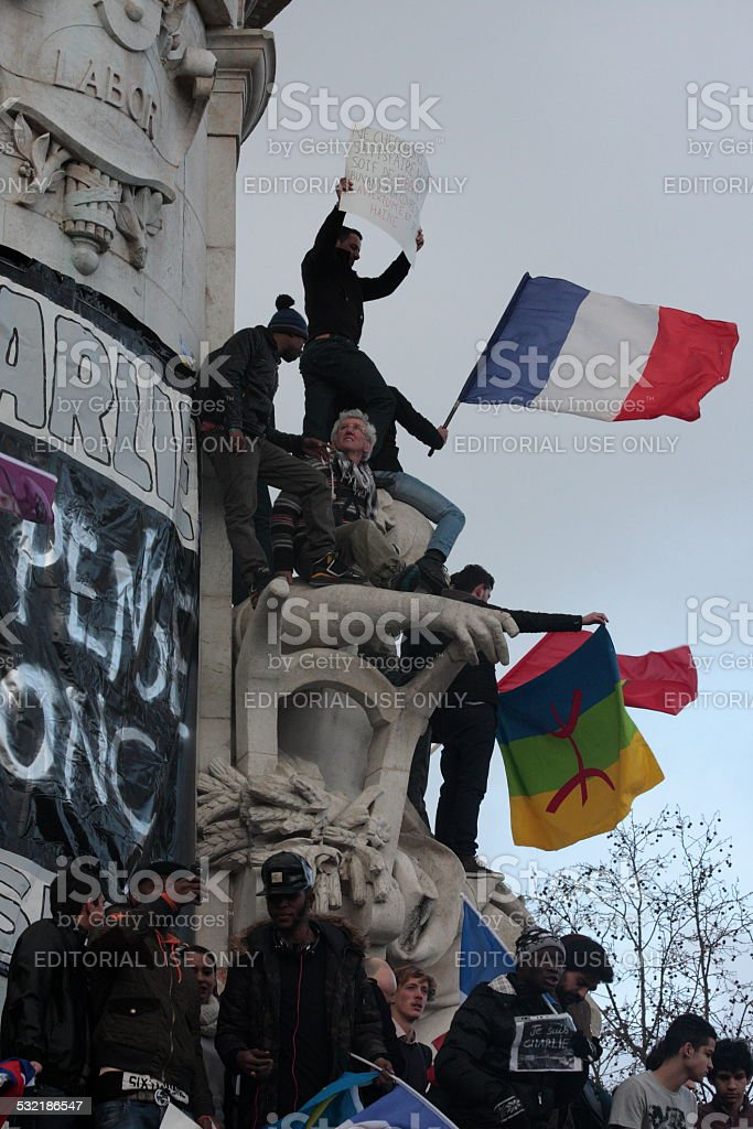 French people on statue of republic in Paris stock photo