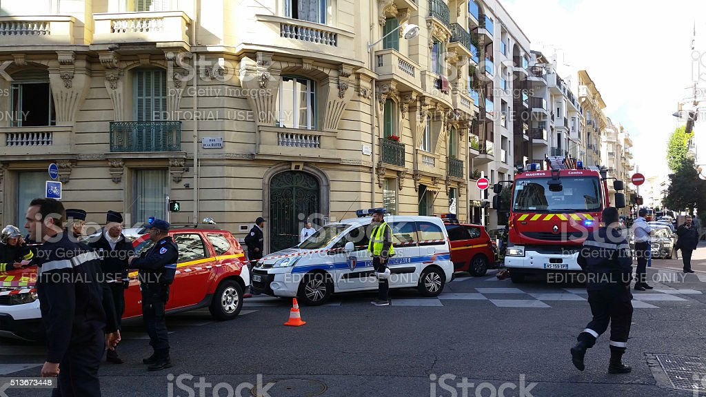 French Police cars and Firefighters Trucks stock photo