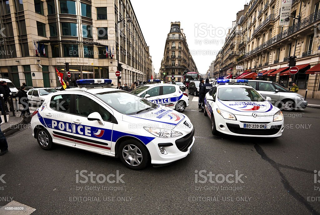 French Police Cars in Paris stock photo
