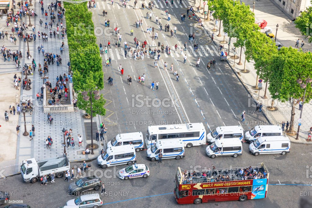 French police checkpoint stock photo
