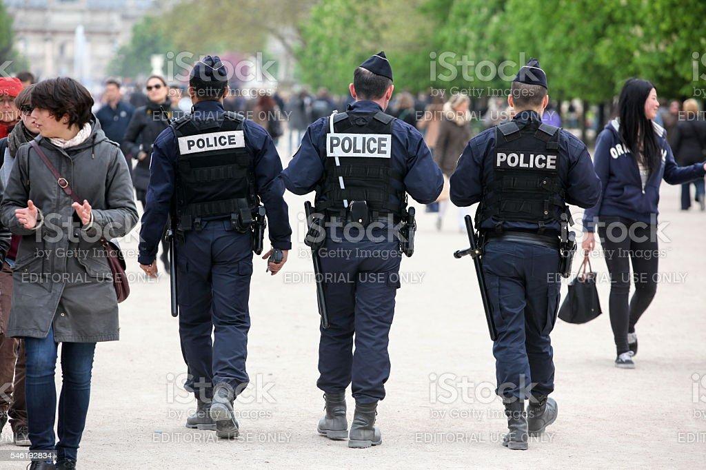 French police control the street Tuileries garden, Paris stock photo