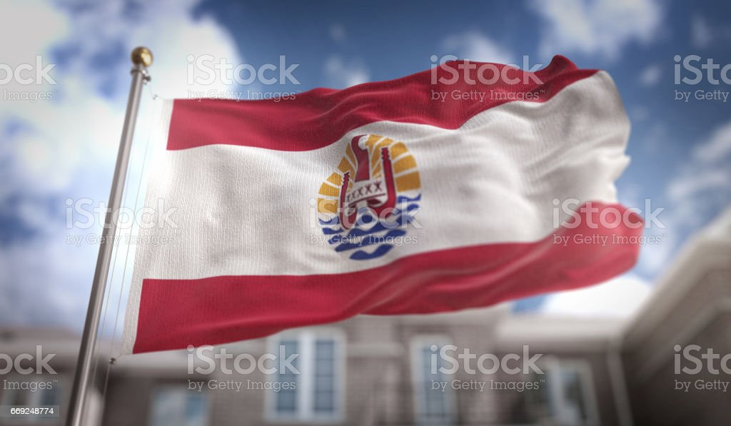French Polynesia Flag 3D Rendering on Blue Sky Building Background stock photo