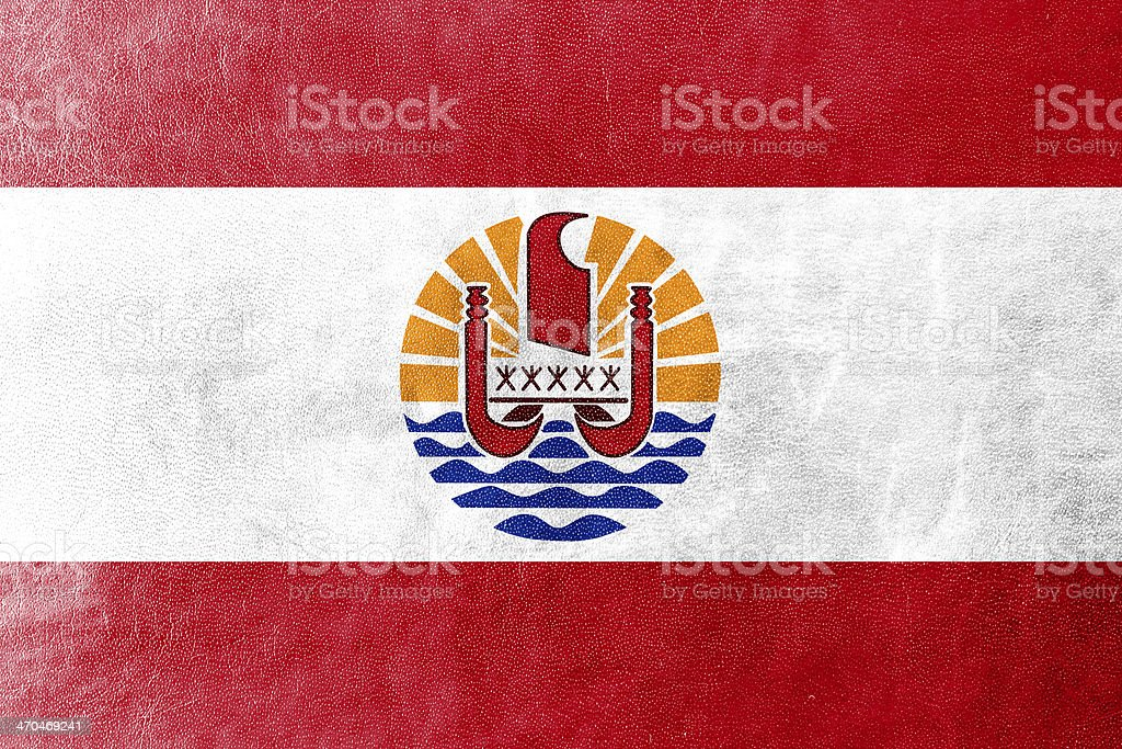 French Polynesia Flag painted on leather texture stock photo