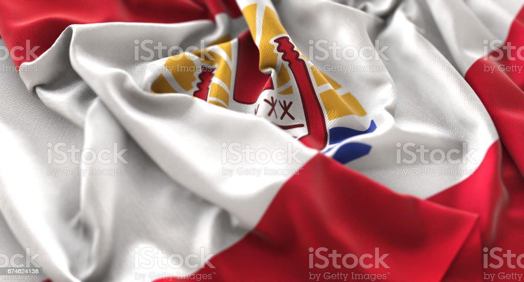 French Polynesia Flag Ruffled Beautifully Waving Macro Close-Up Shot stock photo