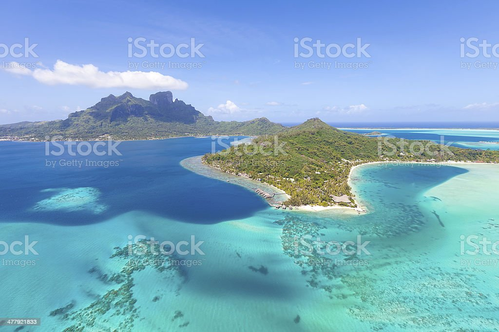french polynesia from helicopter stock photo
